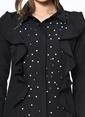 Dewberry Volan Detaylı İşlemeli Uzun Gömlek Siyah